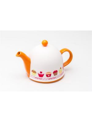 Заварочный керамический чайник PELANGI с пластиковым утепленным колпаком и ситом 800мл GIPFEL. Цвет: оранжевый