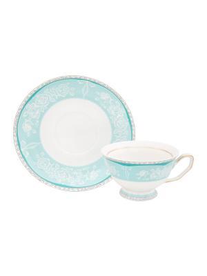 Чайная пара Узор на бирюзовом Elan Gallery. Цвет: белый, бирюзовый
