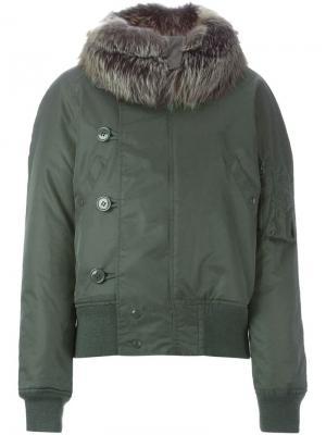 Куртка-бомбер с отделкой из норкового меха Liska. Цвет: телесный