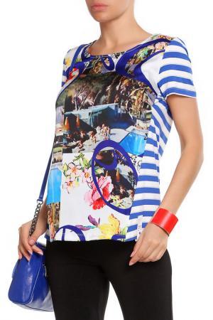 Блуза Paola Joy. Цвет: синий, белый