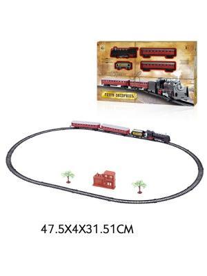 Железная дорога  Ретро Экспресс, свет,звк, паровоз, 3 вагона, 21 деталь, длина путей 103,5х67,5 см 1Toy. Цвет: серый
