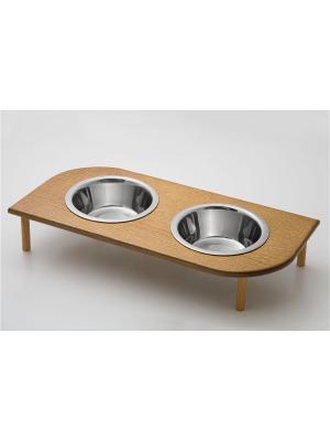 Подставка для кормления животных (дерево) 2*480мл , размеры: 395*200*90мм. Doggy Style. Цвет: коричневый