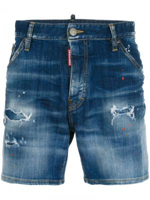 Distressed denim shorts Dsquared2. Цвет: синий