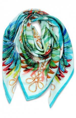 Платок Imperial Feathers из смеси кашемира и шелка Lalique. Цвет: голубой