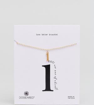 Dogeared Позолоченный браслет с буквой L Love Letter. Цвет: золотой