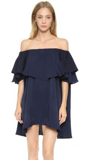 Платье Maison с открытыми плечами MLM LABEL. Цвет: голубой