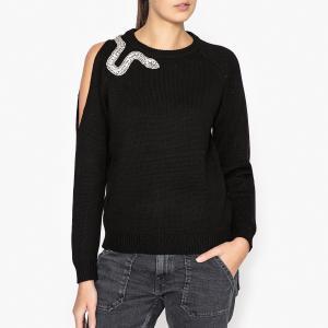 Пуловер с открытым плечом OSSIE BA&SH. Цвет: черный