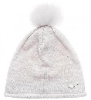 Вязаная шапка с отделкой стразами Capo. Цвет: молочный