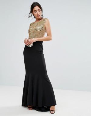 Forever Unique Декорированное платье макси. Цвет: золотой