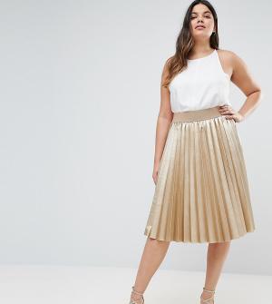 Elvi Плиссированная юбка цвета металлик Premium. Цвет: золотой