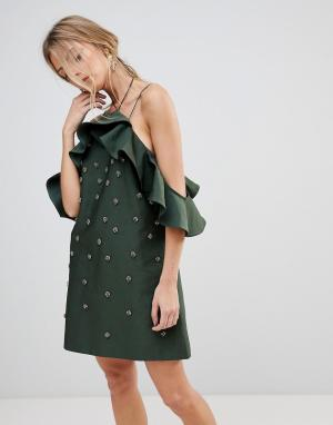 C/meo Collective Декорированное платье Assemble. Цвет: зеленый