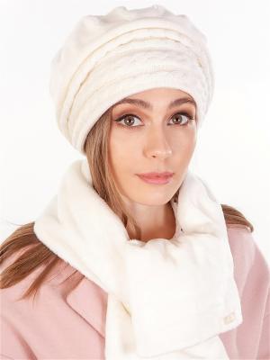 Берет, с шарфом LORICCI. Цвет: белый