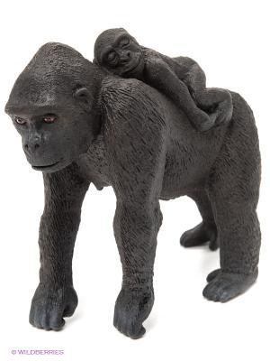 Горилла, самка с детенышем SCHLEICH. Цвет: черный