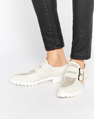 Miista Кожаные туфли с пряжками на плоской подошве Bhu. Цвет: белый
