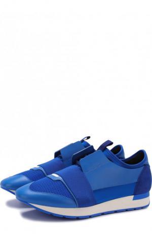 Комбинированные кроссовки Race на шнуровке Balenciaga. Цвет: синий