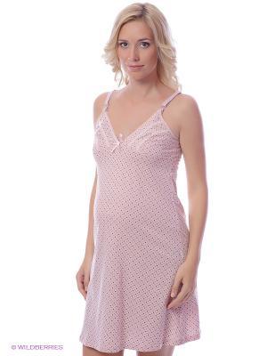 Сорочка женская для беременных и кормящих Hunny Mammy. Цвет: бледно-розовый