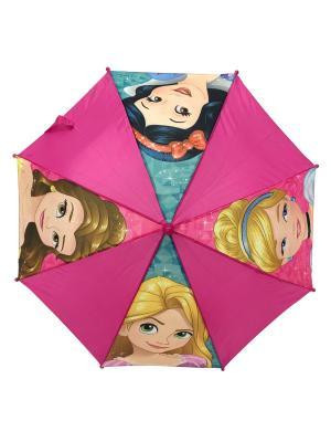 Зонт-трость Disney Princess 37,5 см. Цвет: морская волна, бежевый, бледно-розовый, голубой, золотистый, розовый, светло-голубой, светло-желтый, фиолетовый, фуксия