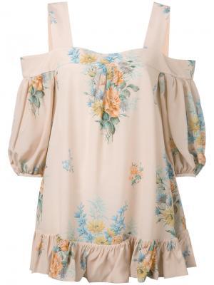 Блузка с открытыми плечами и рисунком Alexander McQueen. Цвет: телесный