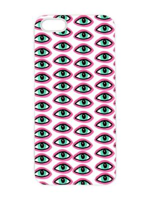 Чехол для iPhone 5/5s Глазастый принт Арт. IP5-054 Chocopony. Цвет: белый, фуксия, черный