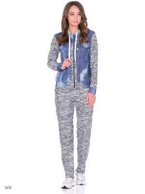 Спортивный костюм-куртка с капюшоном, брюки NAGOTEX. Цвет: серый, синий