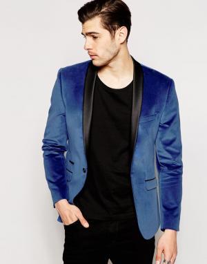 Red Eleven Однотонный бархатный пиджак. Цвет: синий
