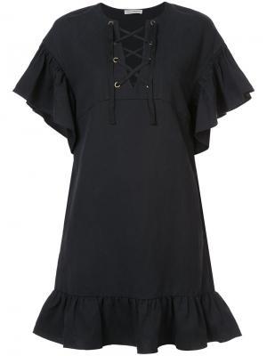 Расклешенное платье со шнуровкой Ulla Johnson. Цвет: чёрный