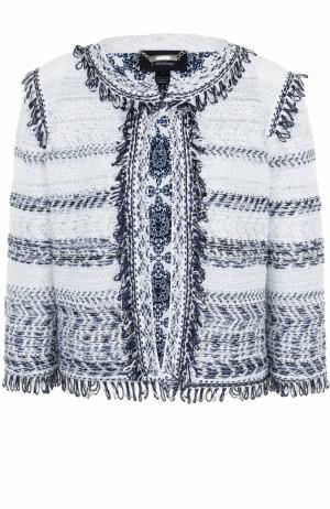 Буклированный жакет с укороченным рукавом St. John. Цвет: темно-синий