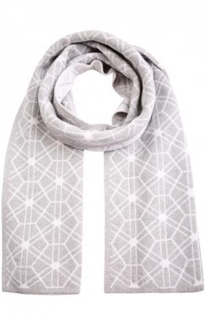 Кашемировый шарф с геометрическим узором Johnstons Of Elgin. Цвет: светло-серый