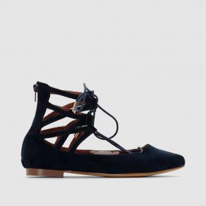 Балетки в стиле спартанских сандалий La Redoute Collections. Цвет: синий,черный