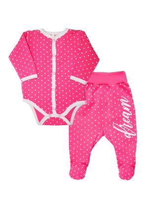 Комплект одежды: ползунки, боди Коллекция DREAM КОТМАРКОТ. Цвет: розовый