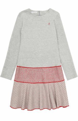Мини-платье джерси с контрастной отделкой I Pinco Pallino. Цвет: серый