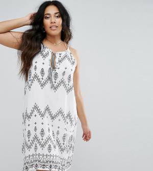Diya Платье с завязкой на шее принтом. Цвет: белый