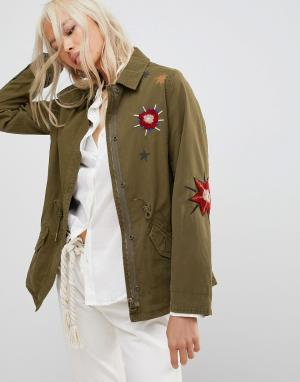 Maison Scotch Куртка с вышивкой. Цвет: зеленый