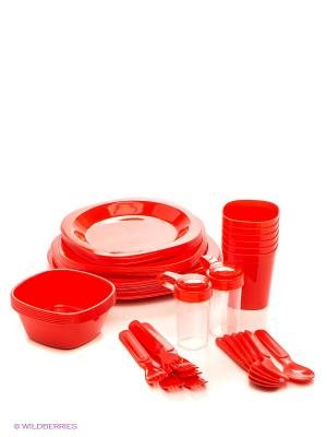 Набор посуды на 6 персон Green Gema. Цвет: красный
