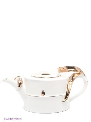 Заварочный чайник Бамбук Pavone. Цвет: белый, золотистый