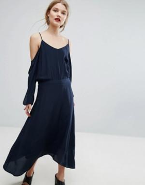 Gestuz Шелковое платье Jeannine. Цвет: темно-синий