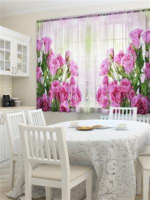 Фототюль для кухни Утренний букет ZLATA KORUNKA. Цвет: розовый