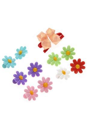 Набор аксессуаров (2 резинки и 10 крабиков) Accsessory. Цвет: персиковый