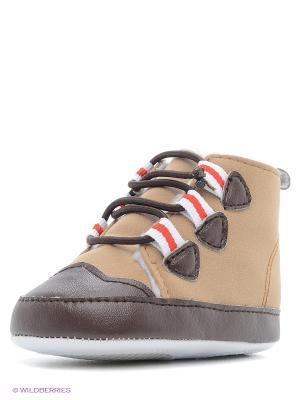 Пинетки Тёплые ботинки Luvable Friends. Цвет: бежевый, красный