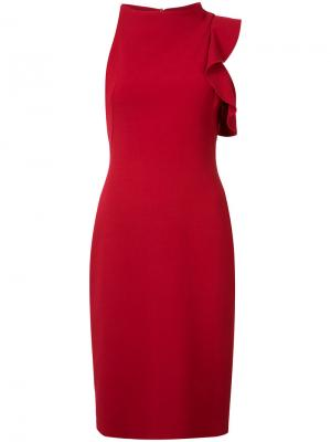 Asymmetric ruffle-trim dress Black Halo. Цвет: красный