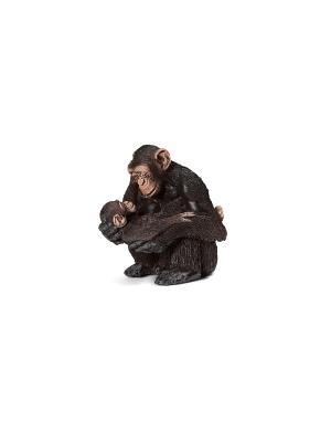 Шимпанзе, самка с детенышем SCHLEICH. Цвет: коричневый