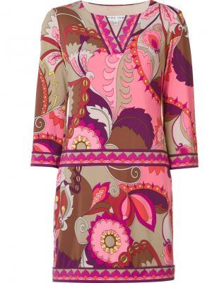 Короткое платье с абстрактным принтом Trina Turk. Цвет: розовый и фиолетовый
