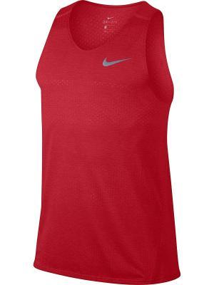 Майка спортивные M NK BRTHE TANK TAILWIND COOL Nike. Цвет: красный