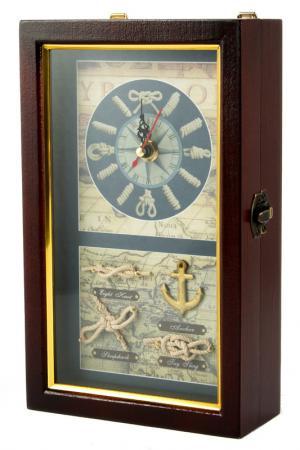 Коллаж-ключница с часами Русские подарки. Цвет: коричневый, синий