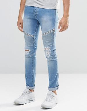 Loyalty & Faith Окрашенные спреем голубые байкерские джинсы. Цвет: синий
