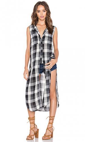Длинная майка с застёжкой на пуговицах BLANKNYC. Цвет: black & white