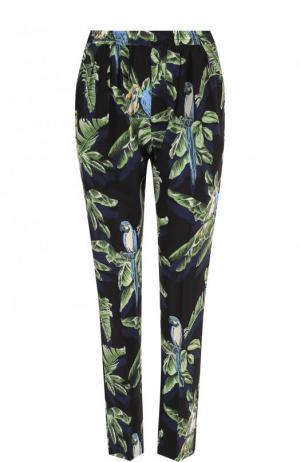 Укороченные шелковые брюки с принтом и эластичным поясом Stella McCartney. Цвет: черный