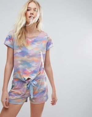 Boux Avenue Пижама из топа и шортов с принтом облаков. Цвет: мульти