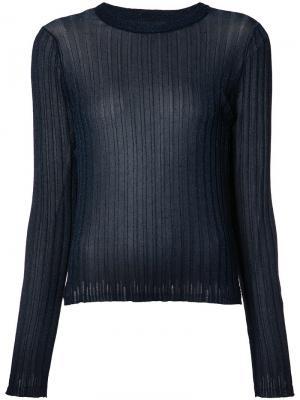Прозрачная футболка в рубчик Helmut Lang. Цвет: синий