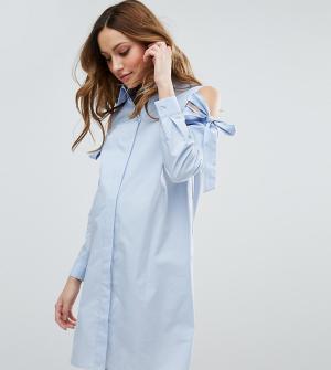 ASOS Maternity Платье-рубашка для беременных с вырезами на плечах. Цвет: синий